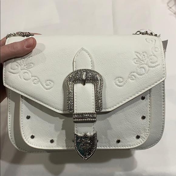 "Icing Handbags - White ""Western"" Convertible Crossbody/Shoulder Bag"